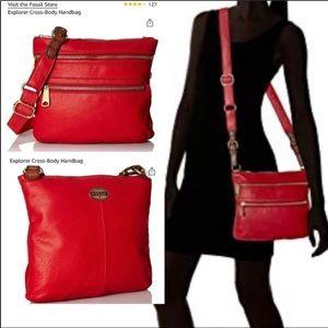 Fossil red leather Explorer Cross-Body Handbag.